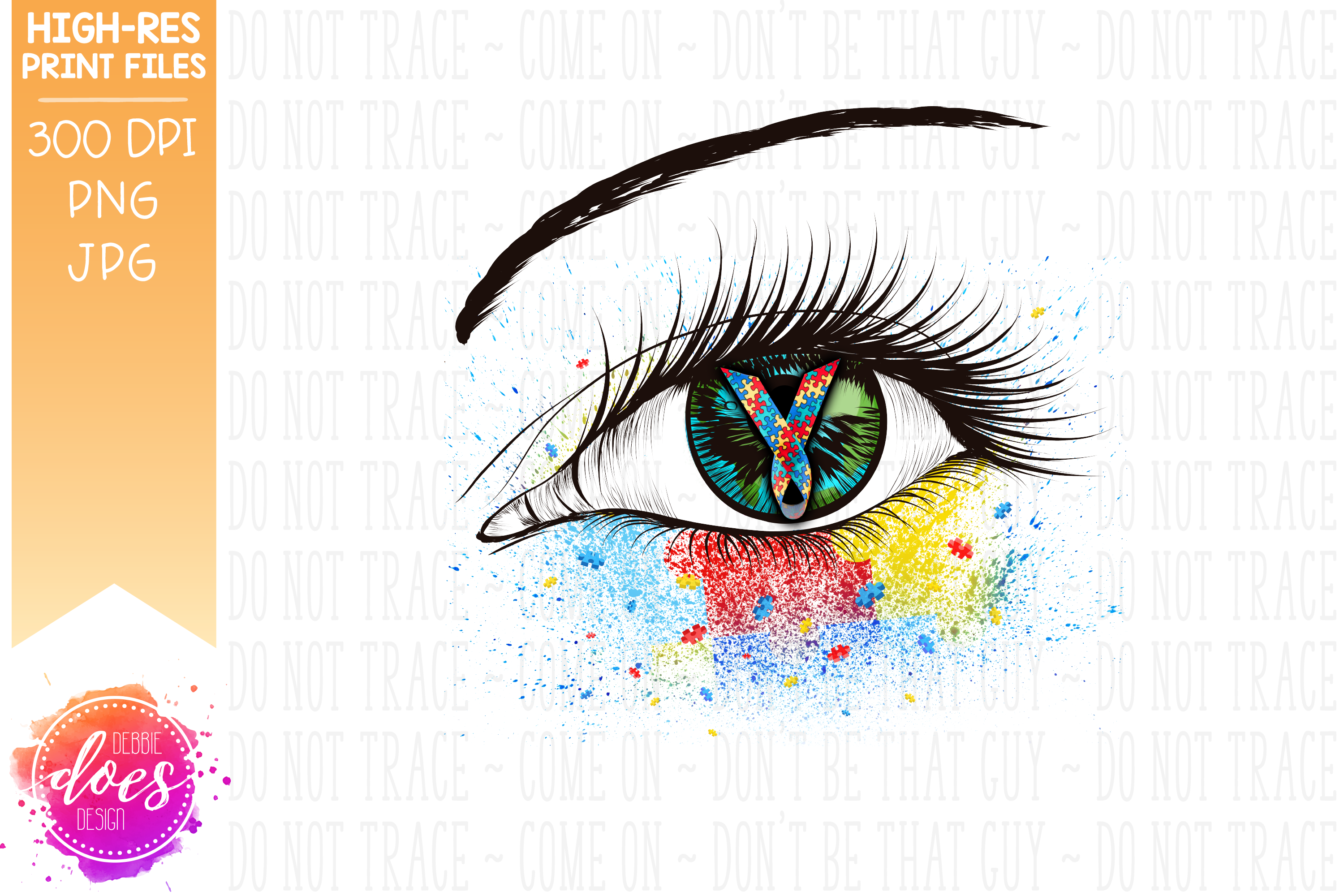 Autism Awareness Ribbon Eye - Printable Design example image 4