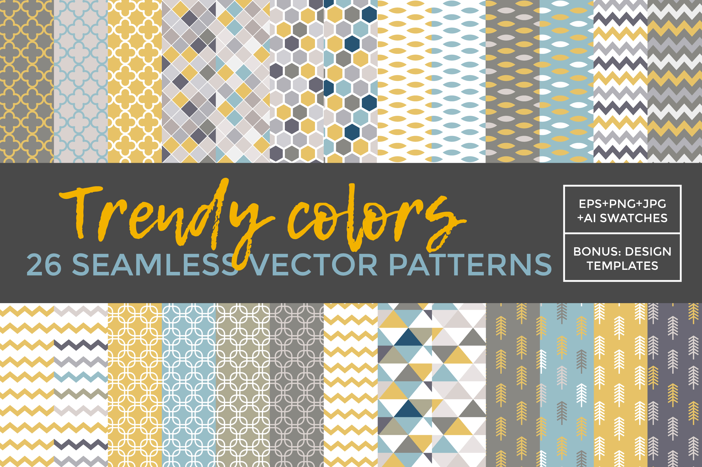 26 vector patterns Trendy Colors example image 2