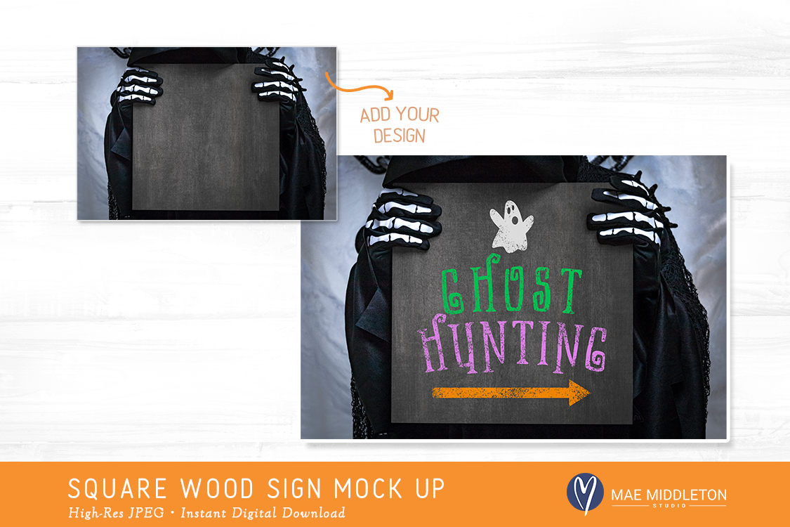 Square Wood Sign Mock up for Halloween example image 2