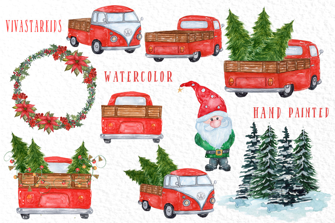 Watercolor Christmas Cars clipart example image 2