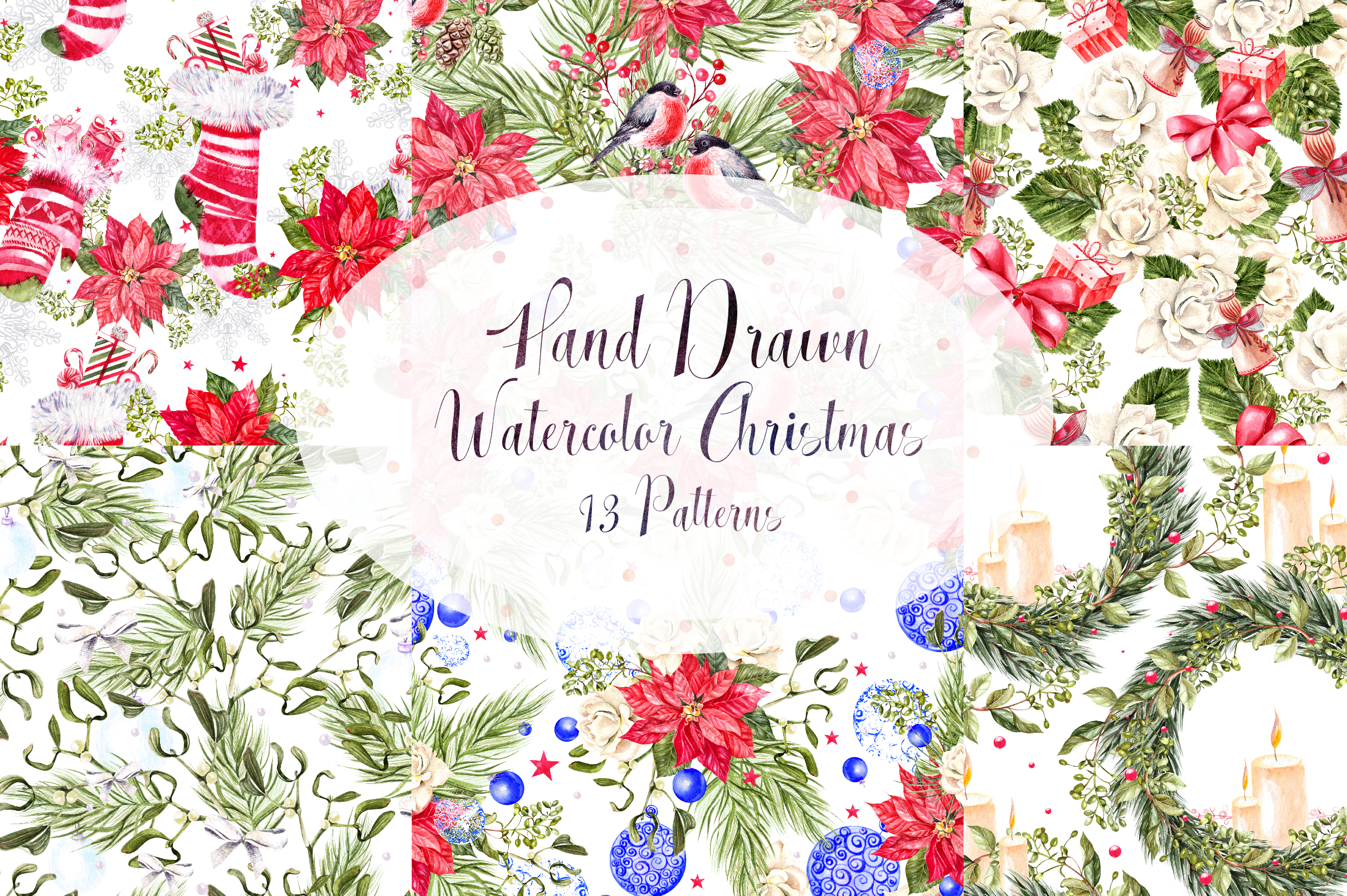 Hand Drawn Watercolor Christmas 13 Patterns example image 1