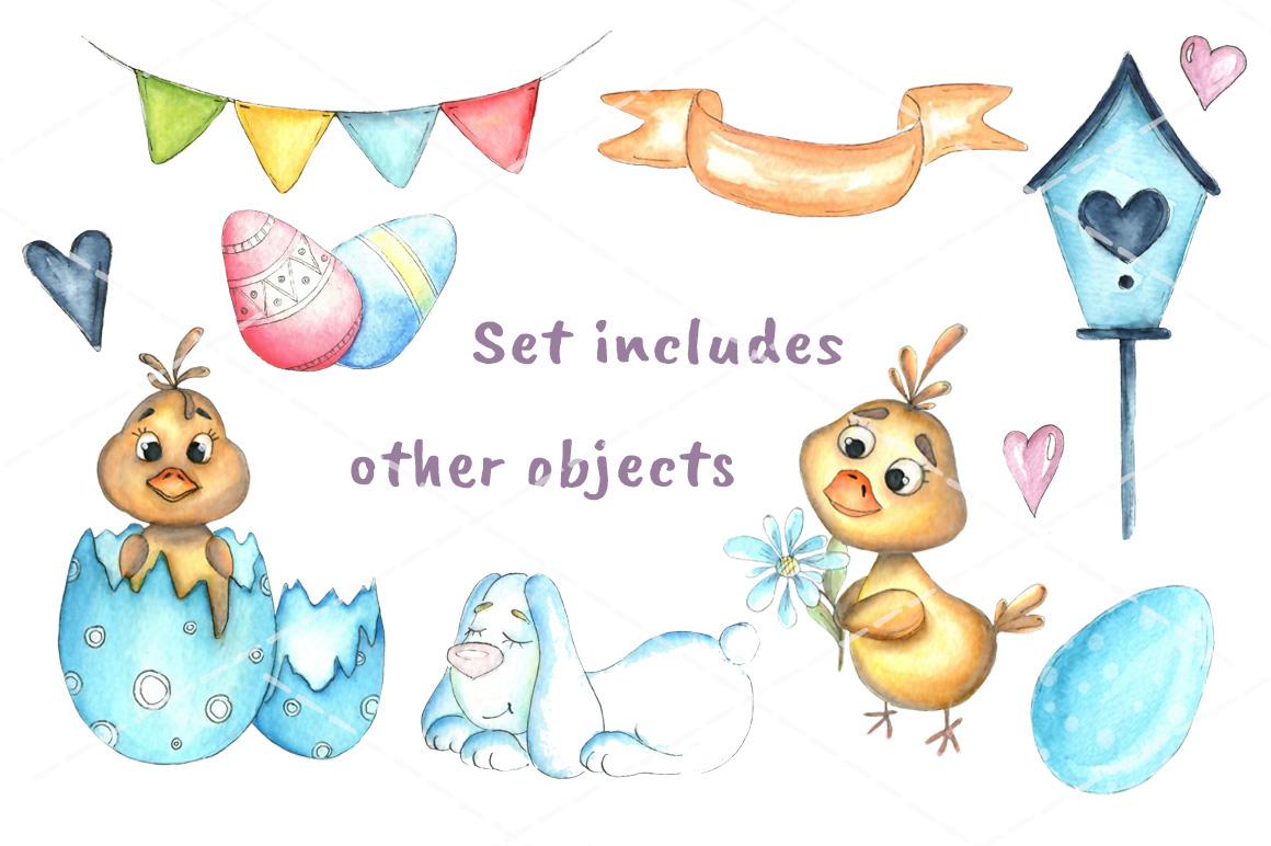 Happy Easter watercolor bundle example image 6