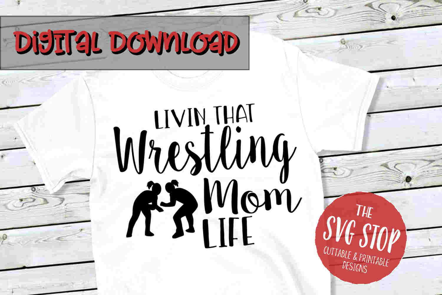 Wrestling Mom Life 2-SVG, PNG, DXF example image 1
