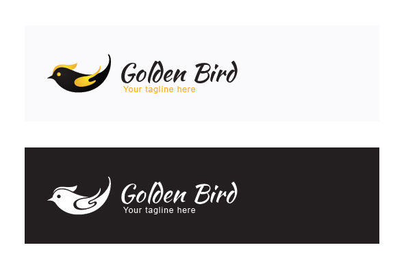 Golden Fly - Black Bird with Golden Wings Stock Logo example image 2