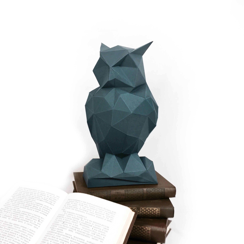 Night Owl, Papercraft Owl, Paper Owl, Animal Trophy, Loft Decor, Home Decor, 3D papercraft model, animal head, lowpoly DIY, hobby idea, DIY example image 1