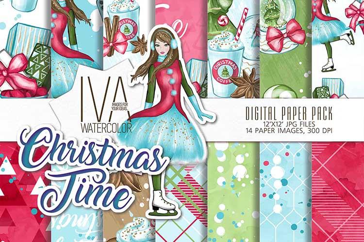 Christmas Digital Paper Pack, Christmas Scrapbook example image 1