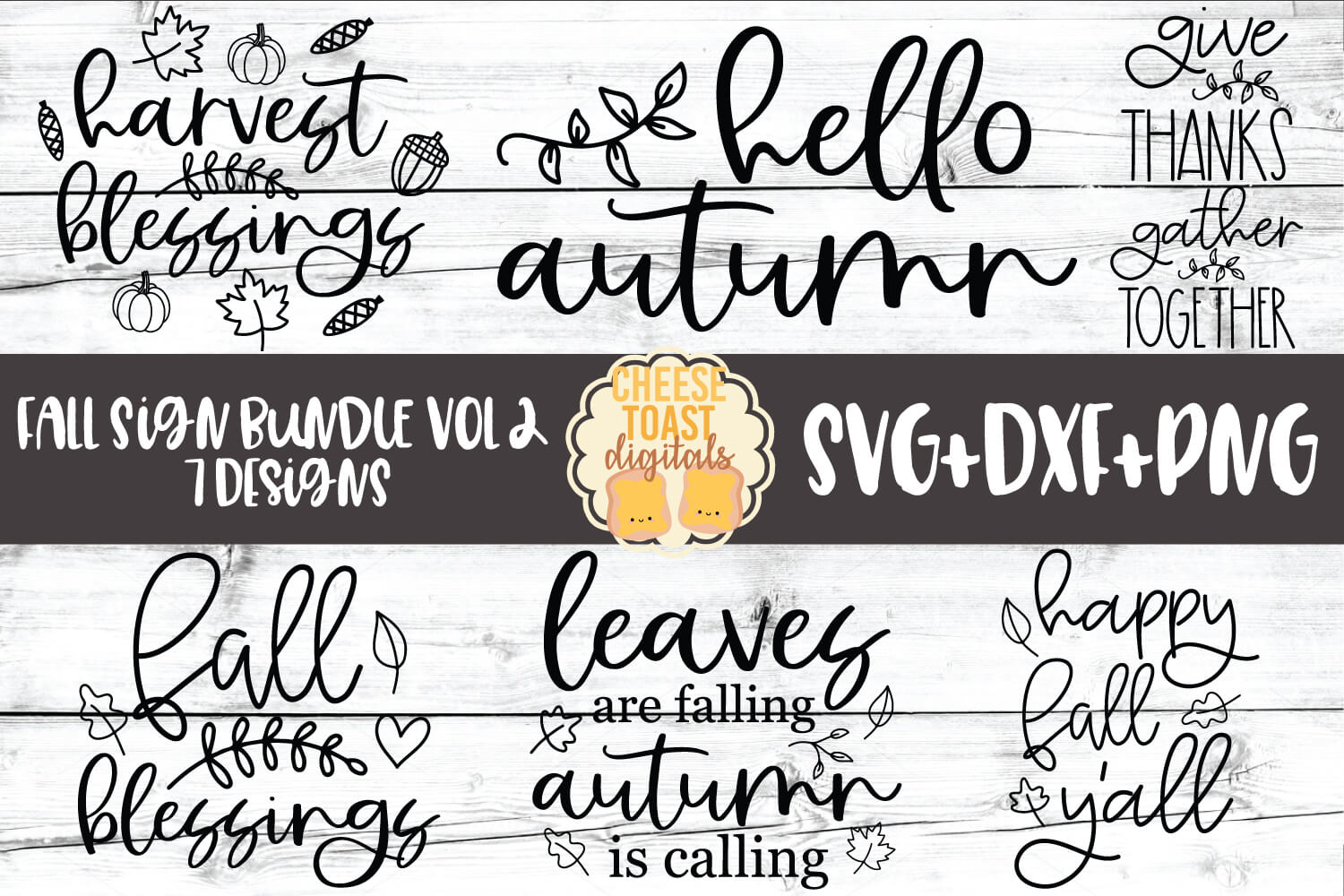 Fall Sign Bundle Vol 2 - Autumn SVG PNG DXF Cut Files example image 1