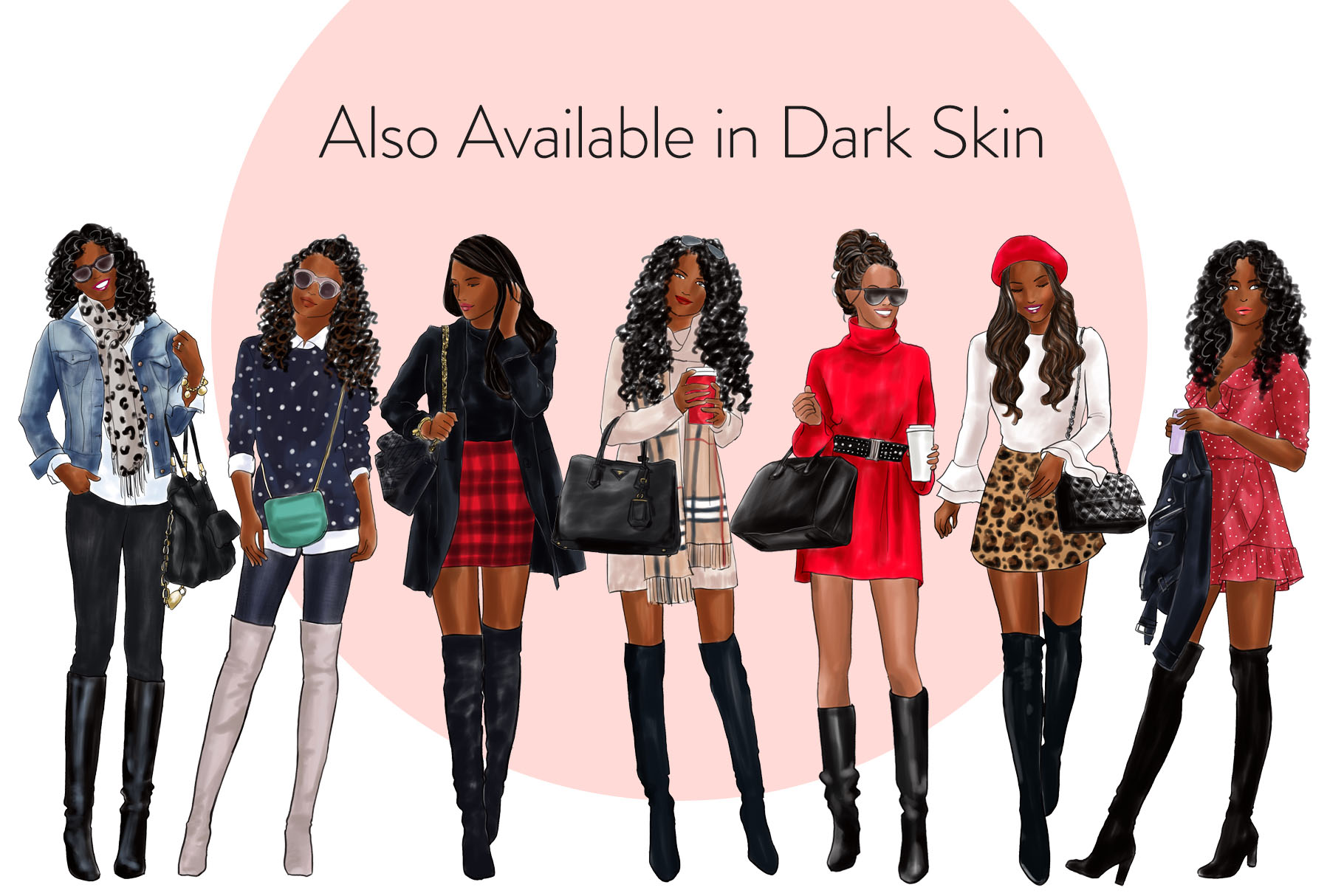 Fashion illustration clipart - Girls in Boots 1 - Light Skin example image 4