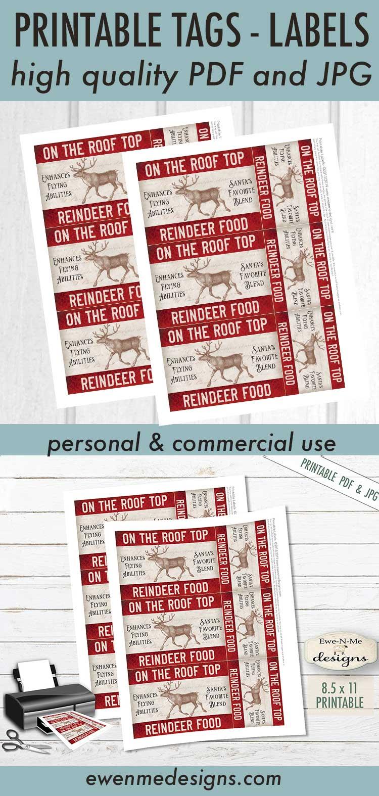Printable Christmas Tags - Reindeer Food - Rooftop - PDF JPG example image 3