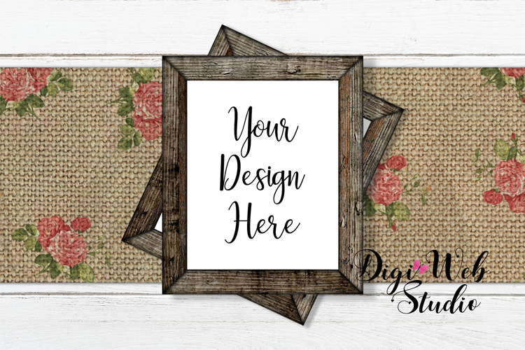 Flat Lay Wood Signs Mockup - Rustic Frames on Table Runner example image 1