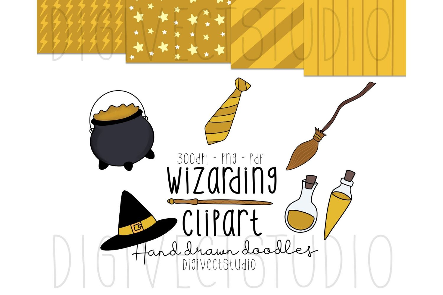 Wizarding Clipart Yellow - Witch Clipart - Wizard Clipart example image 1