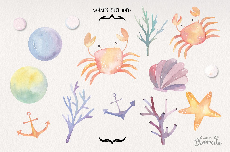 Sea Life Watercolor 14 Elements Ocean Cute Crabs Shell Pearl example image 5