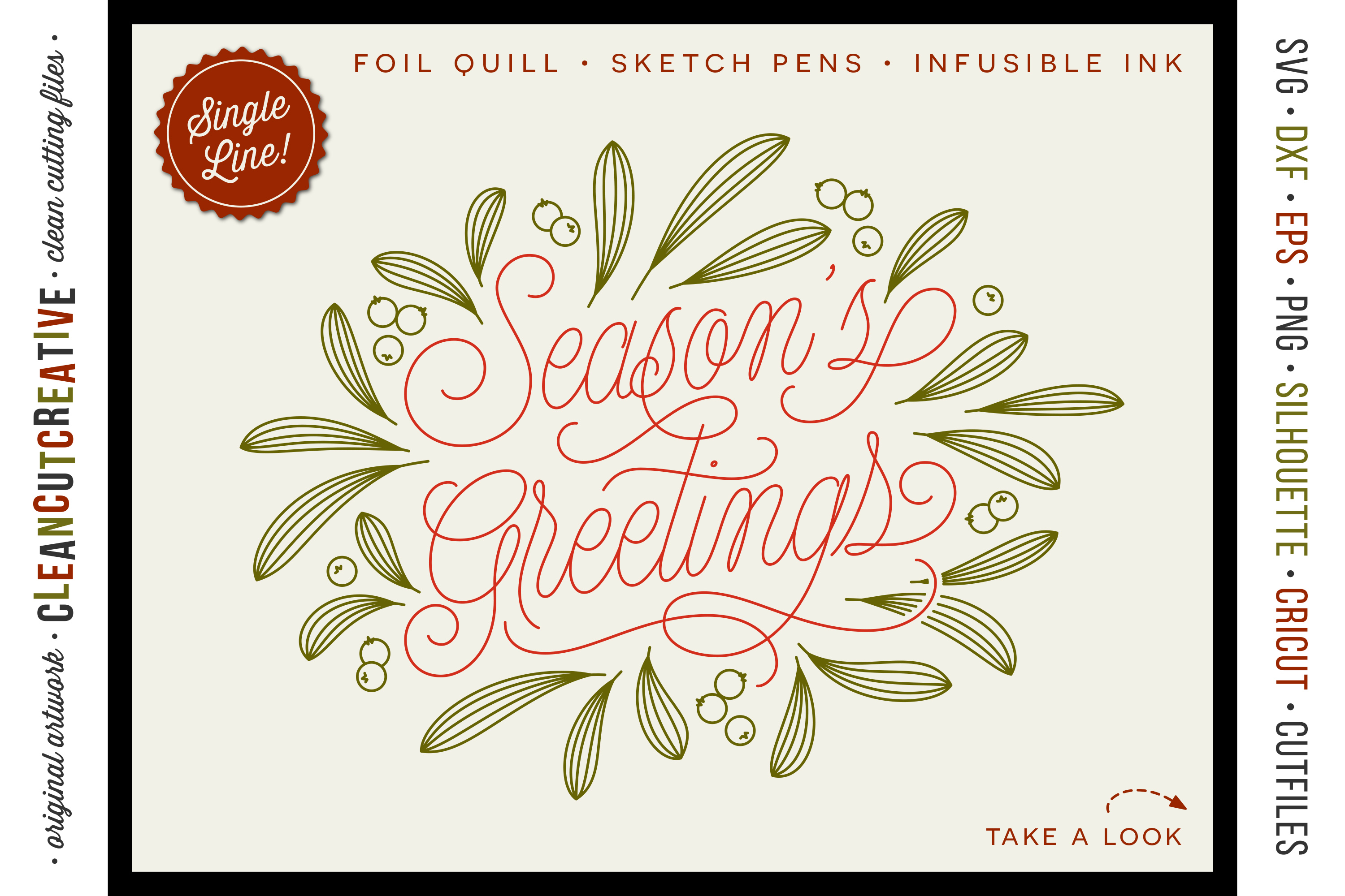 Foil Quill Season's Greetings single line Christmas file SVG example image 1