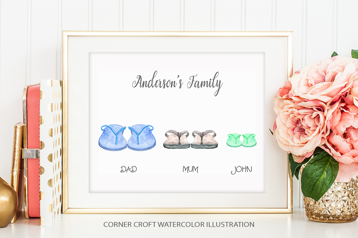 Watercolor flip flops clipart for instant download example image 7