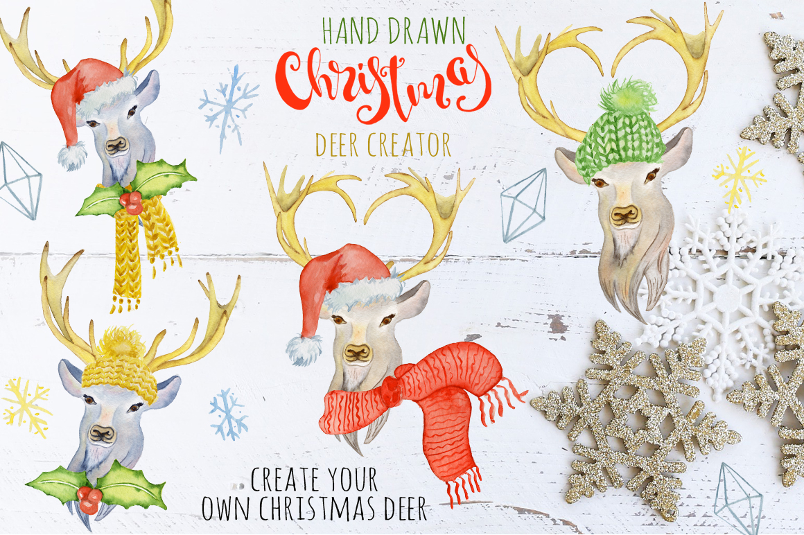 Christmas deer watercolor creator example image 1