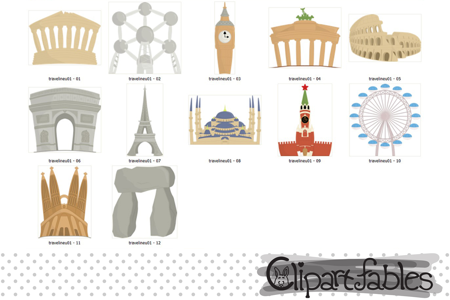 TRAVEL in Europe clipart, cute Famous European buildings example image 2