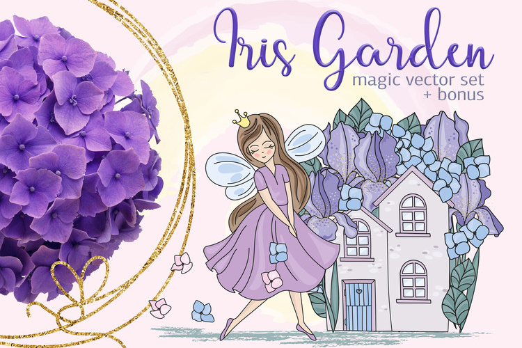 IRIS GARDEN Color Vector Illustration Set example image 1