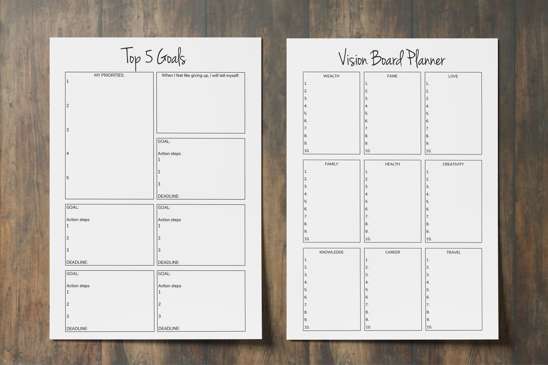 Goal Planner Printable 2019, Goal Worksheet, Planner Insert example image 5