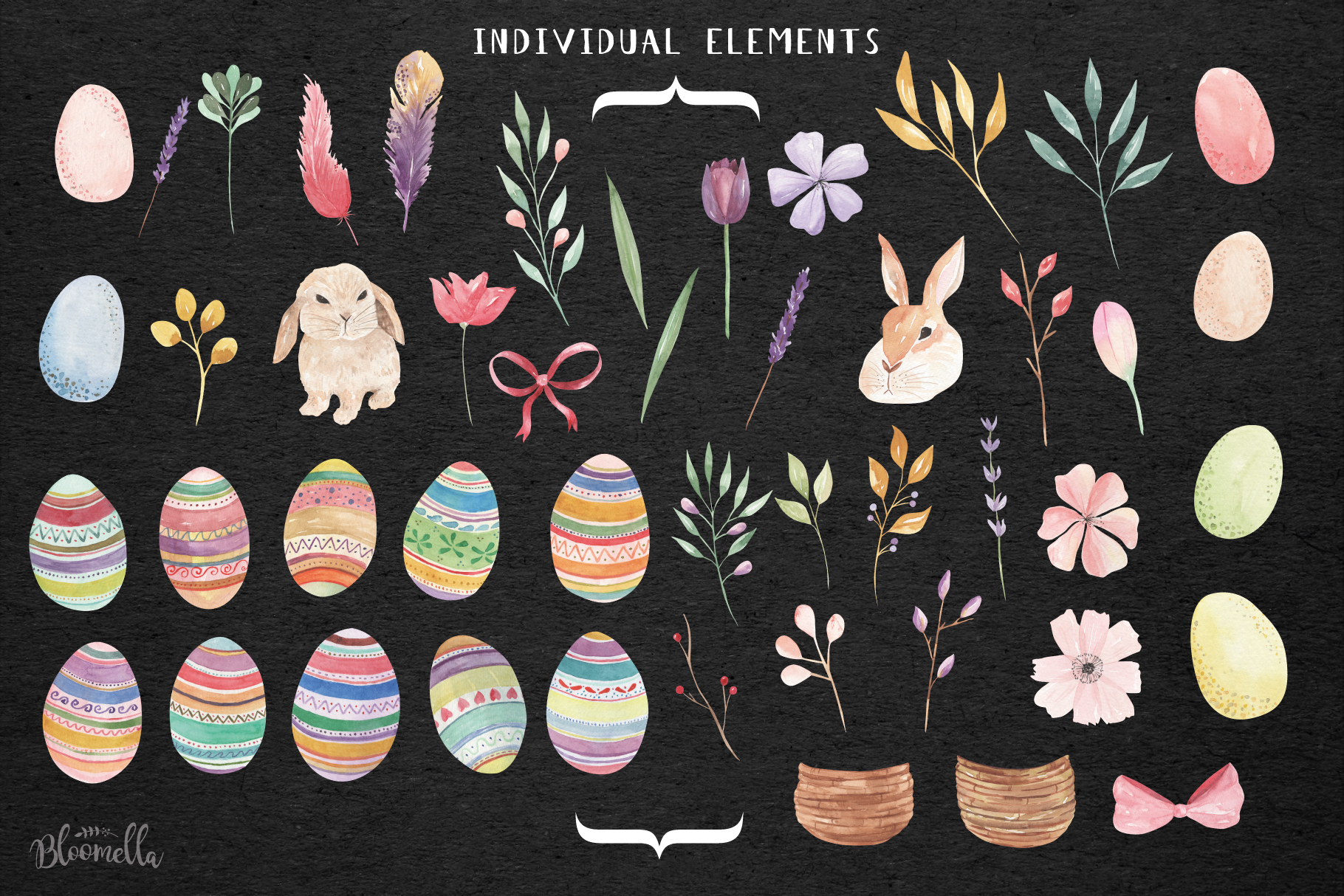 Easter Egg HUGE Bunny Watercolor Floral Spring Clipart Kit example image 2