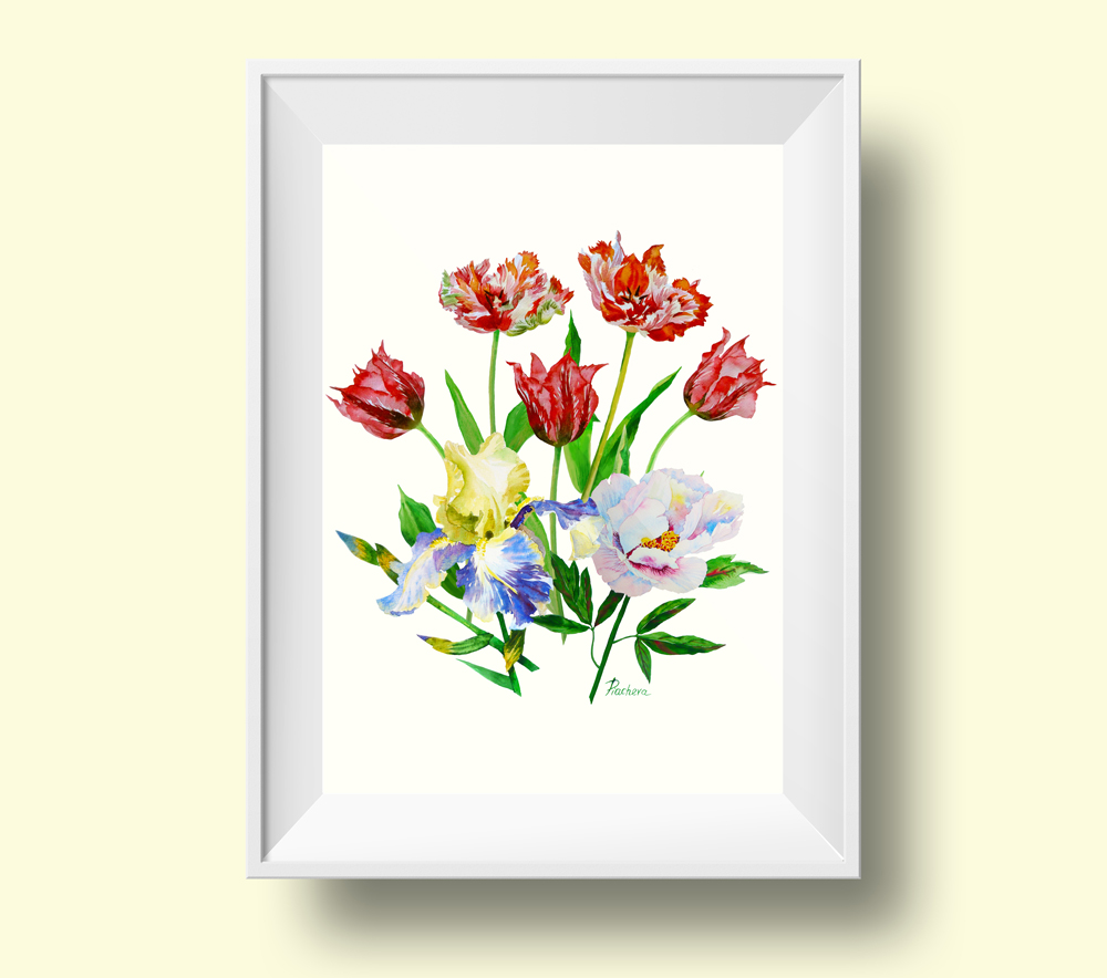 Bouquet with tulips, iris and peony example image 3