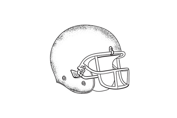 American Football Helmet Black and White Drawing example image 1