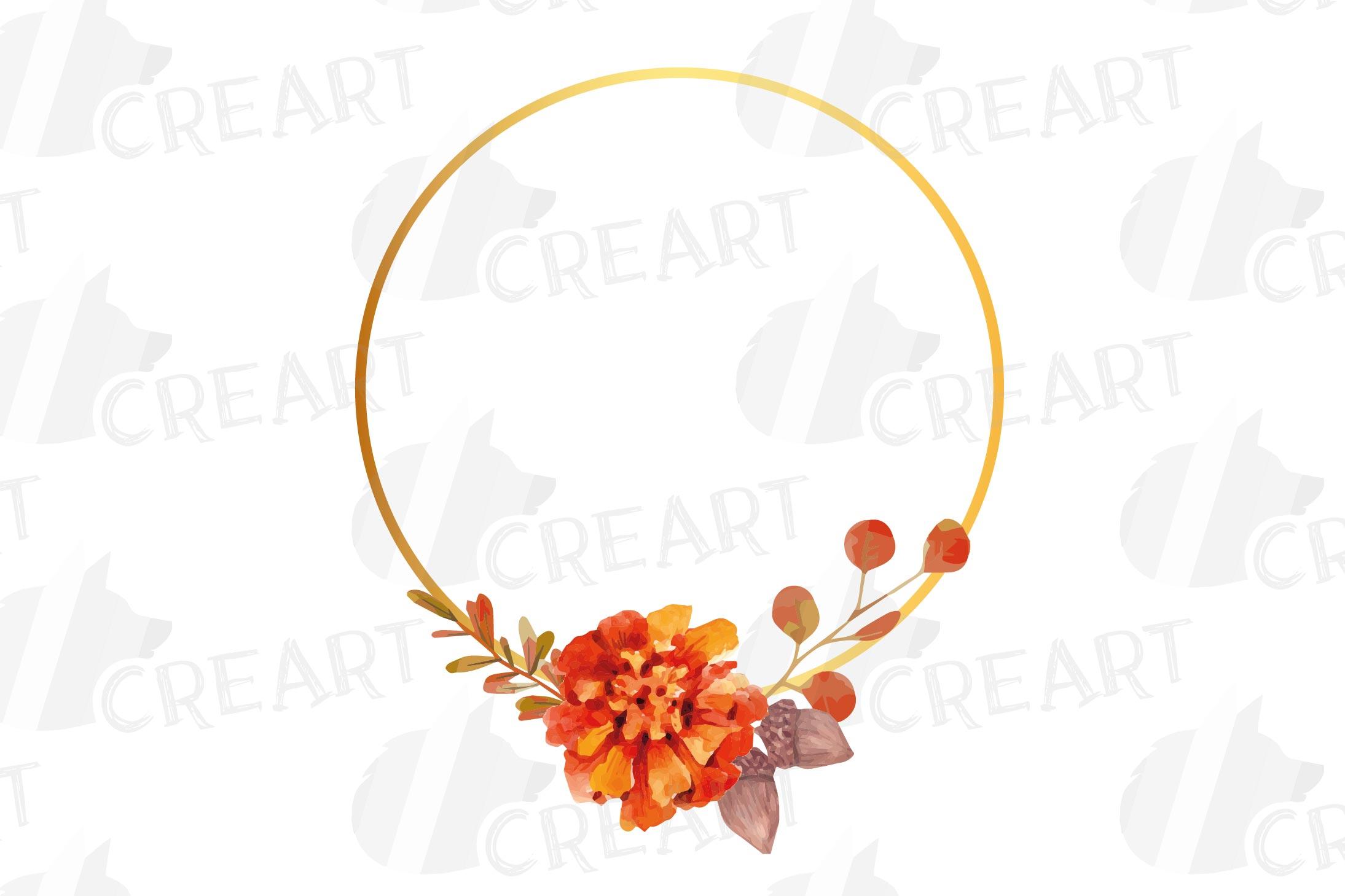 Watercolor elegant autumn geometric golden frame templates. example image 11