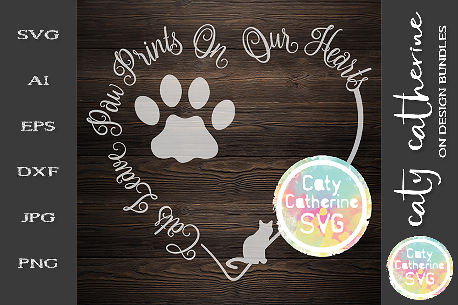 Cats Leave Paw Prints On Our Hearts SVG Cut File example image 1