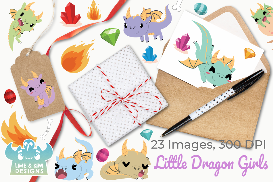 Little Dragon Girls Clipart, Instant Download Vector Art example image 4