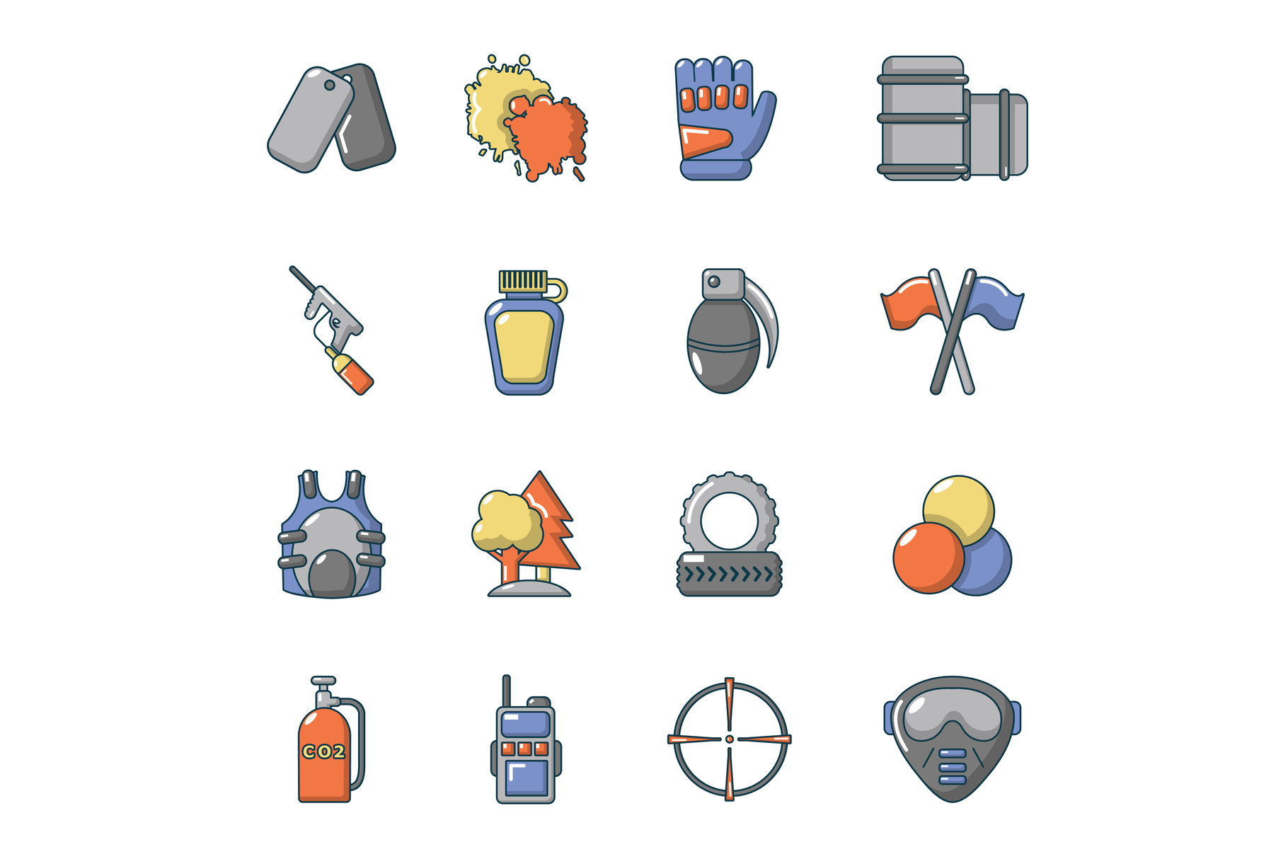 Paintball icons set, cartoon style example image 1