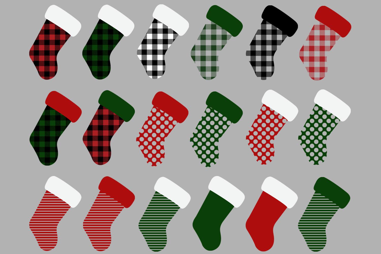 Christmas Stocking Buffalo Check Clip Art example image 2
