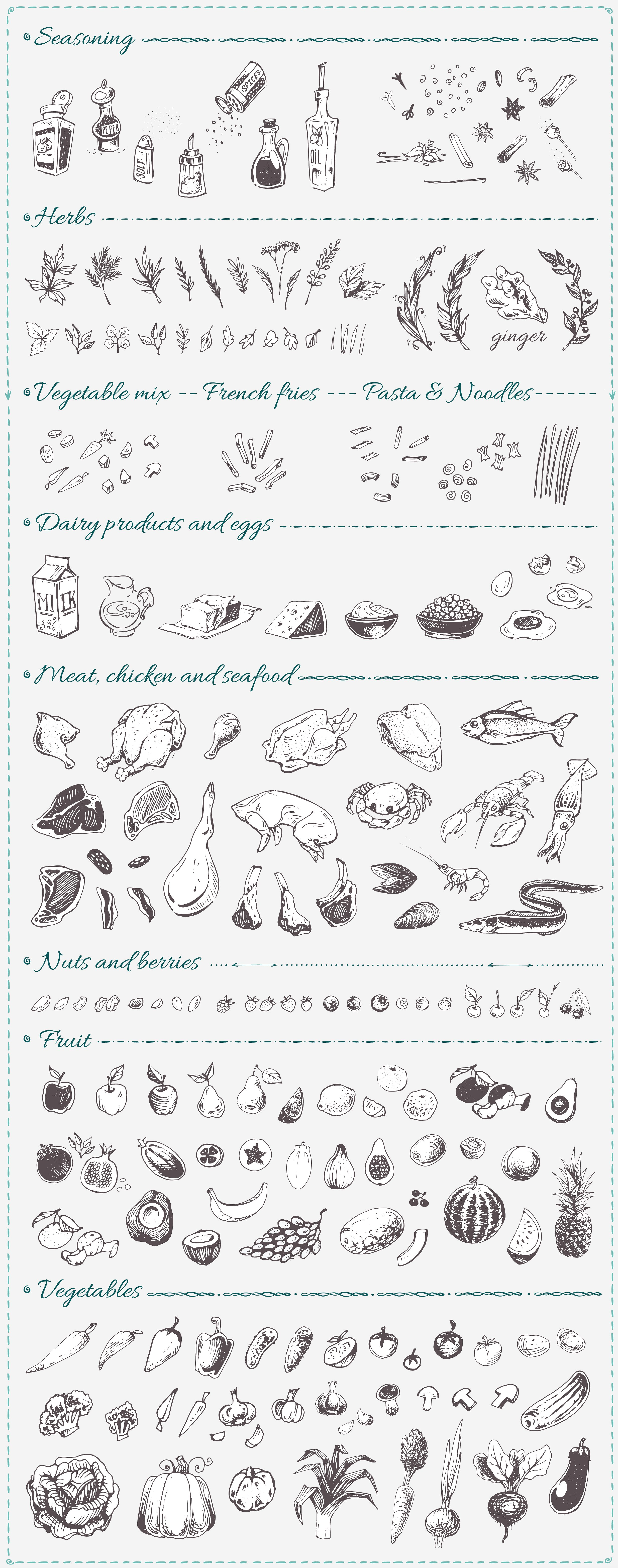 Hand drawn cooking and food icons example image 2