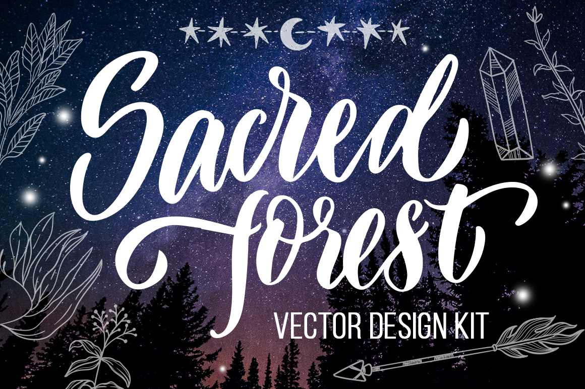 Sacred forest- big vector design kit example image 1
