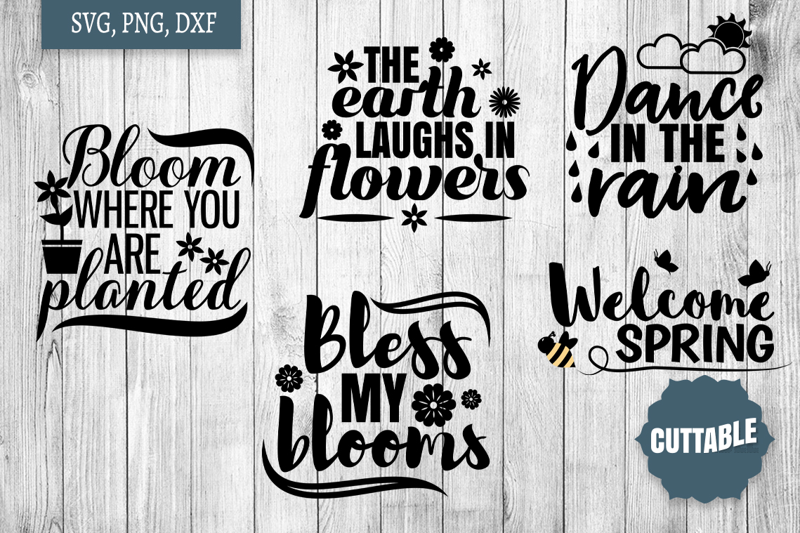 Spring SVG bundle, Spring quote cut file, welcome spring svg example image 3
