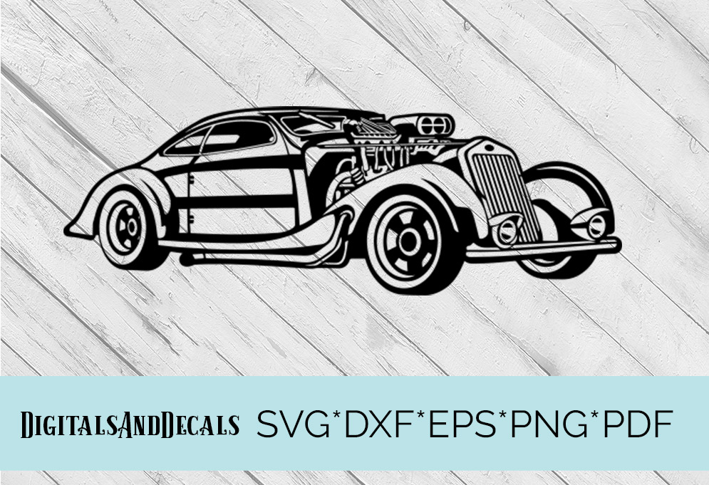 HotRod Classic Car  SVG Cutting File  example image 1