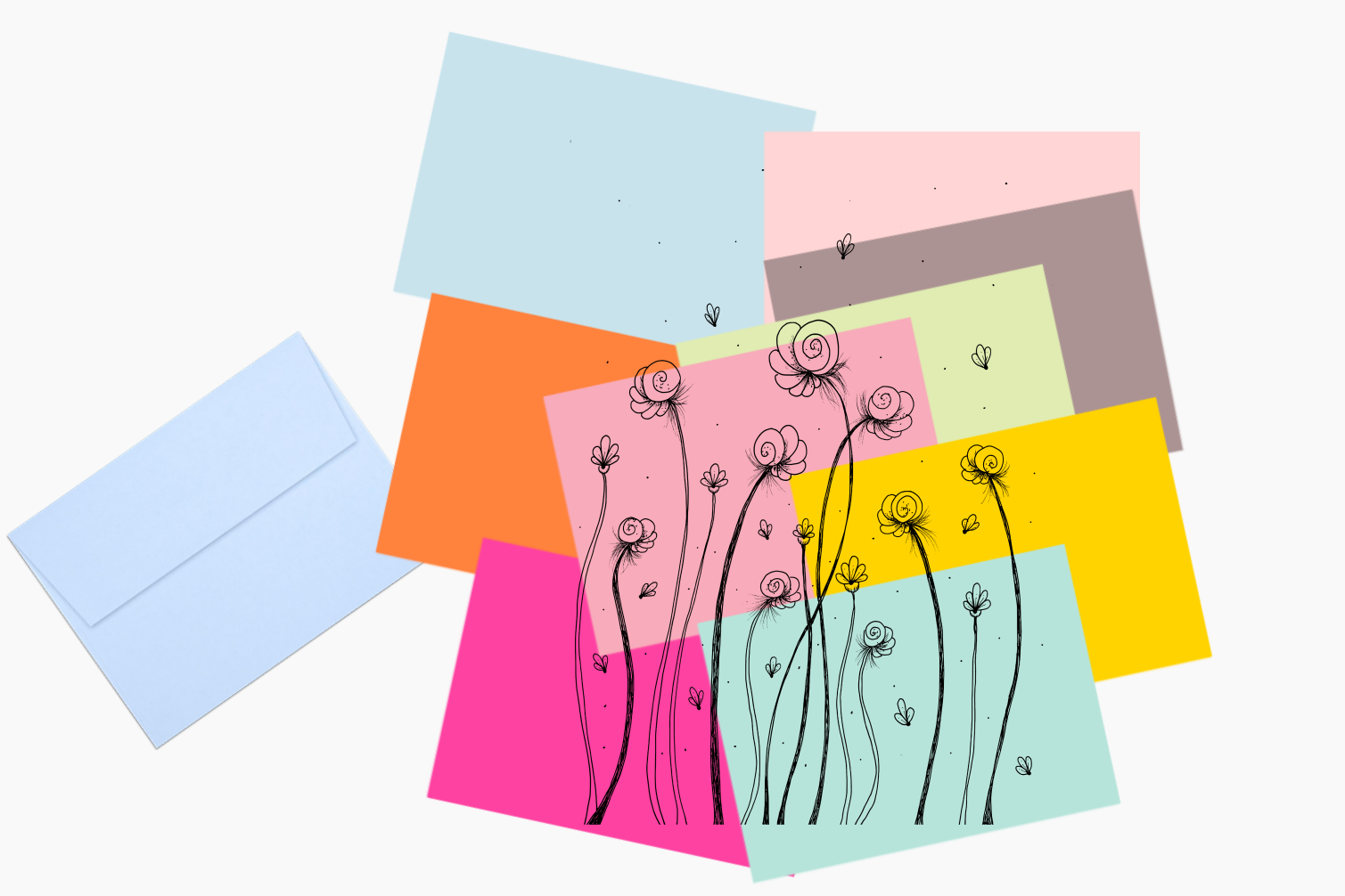 Léa Flowers Garden Doodle Art, A1, SVG example image 6