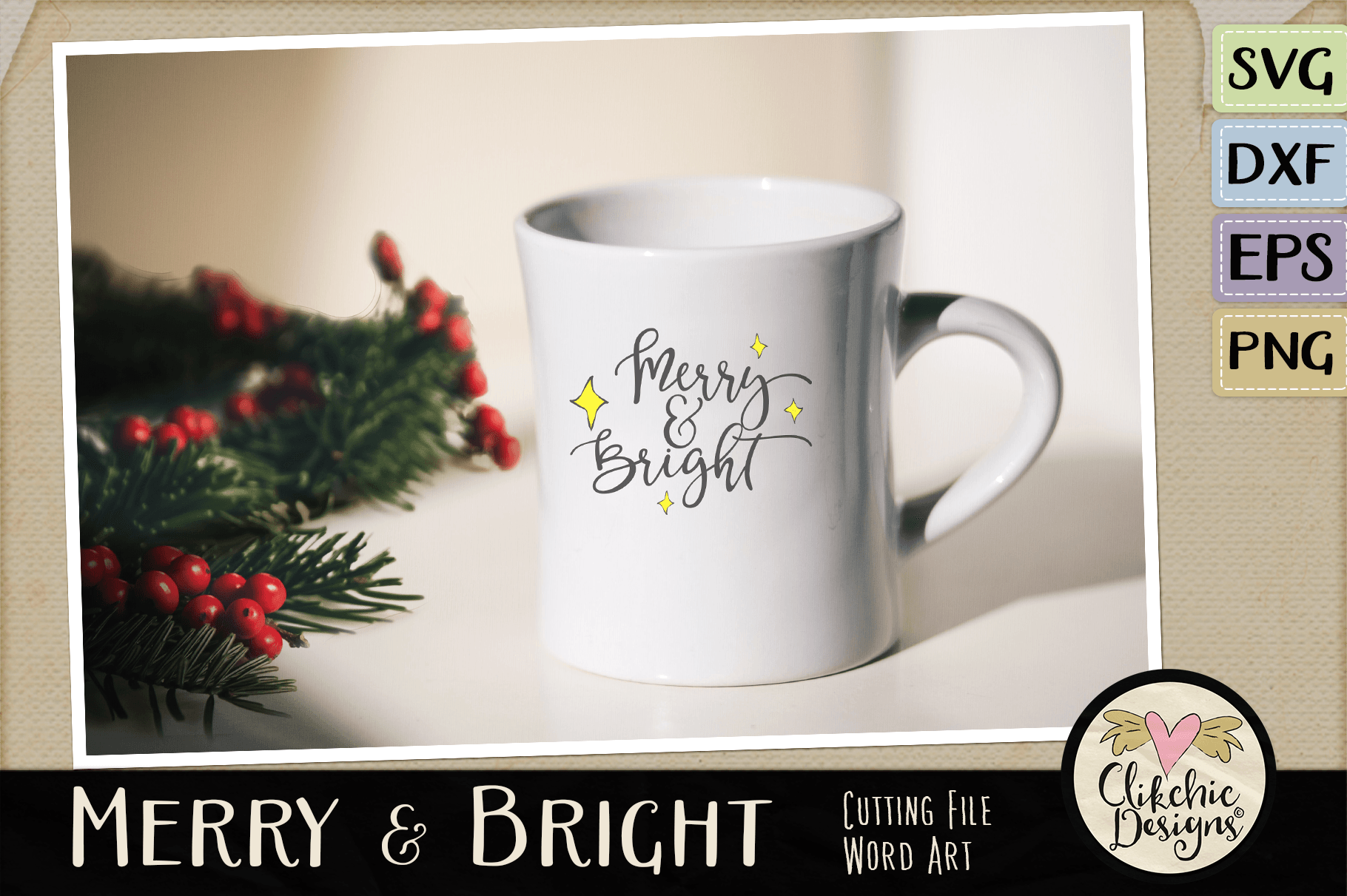 Christmas SVG - Merry & Bright Cutting file Clipart Word Art example image 2