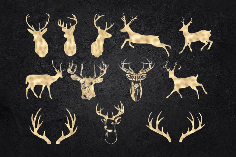 Deer Clipart, Antler Clip Art, Gold Glitter Digital Deers example image 2