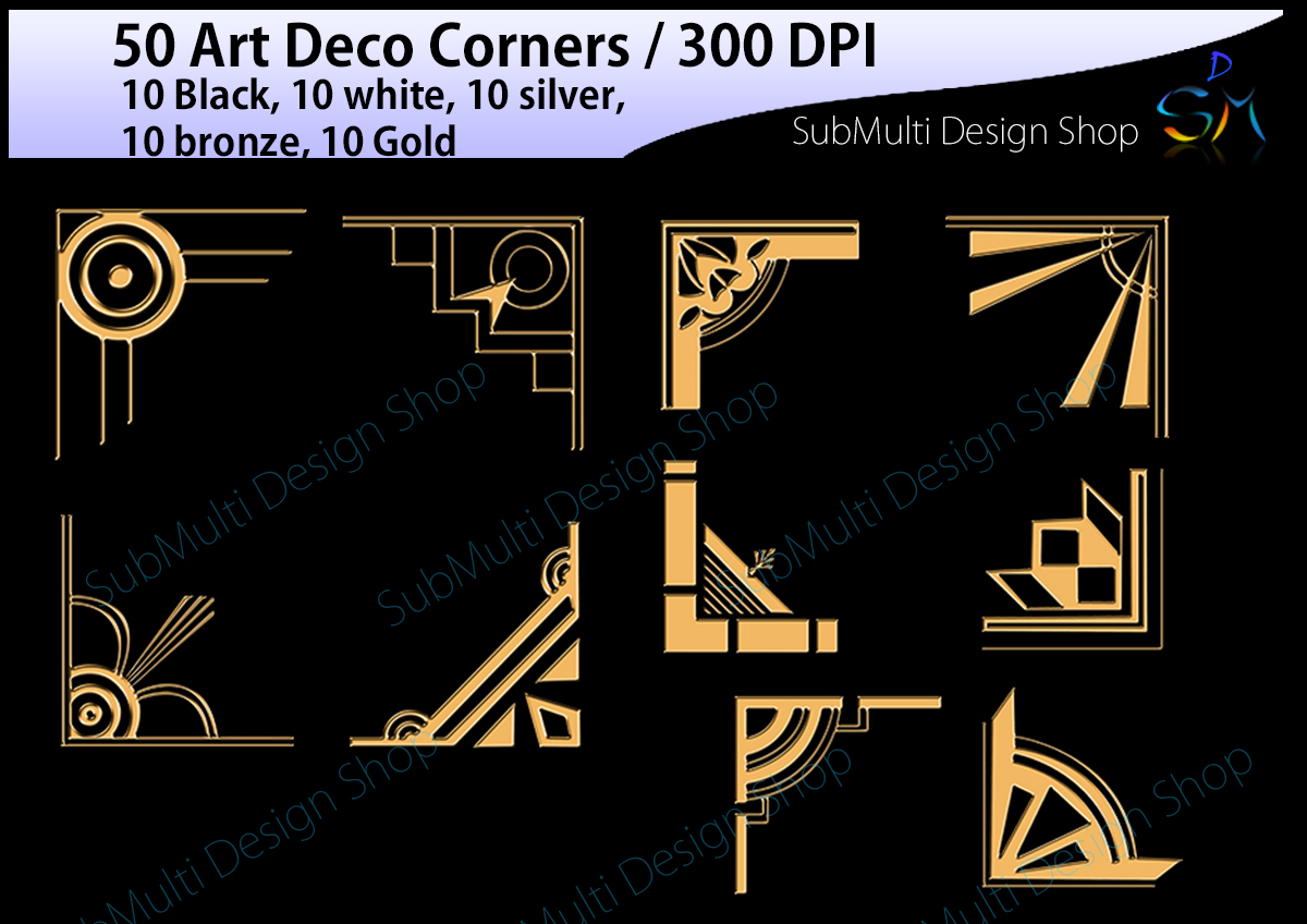 Art deco / art deco corners / art deco frames / art deco digital clipart / vector / High Quality / side corners / silhouette /digital files example image 3