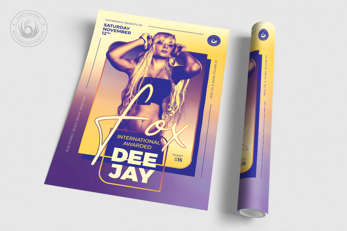 DJ Session Flyer Template V9 example image 3
