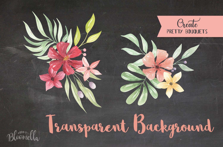 Claret 20 Watercolor Elements Flowers Burgundy Foliage Leaf example image 5
