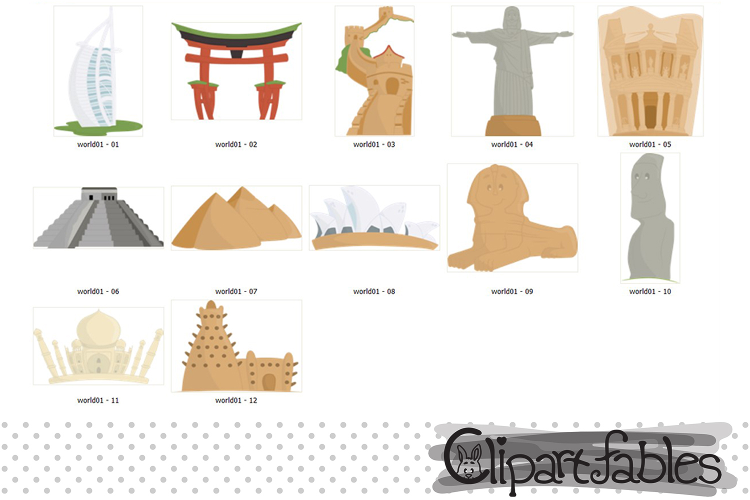 TRAVEL in the WORLD clipart, Seven wonders of the world example image 2