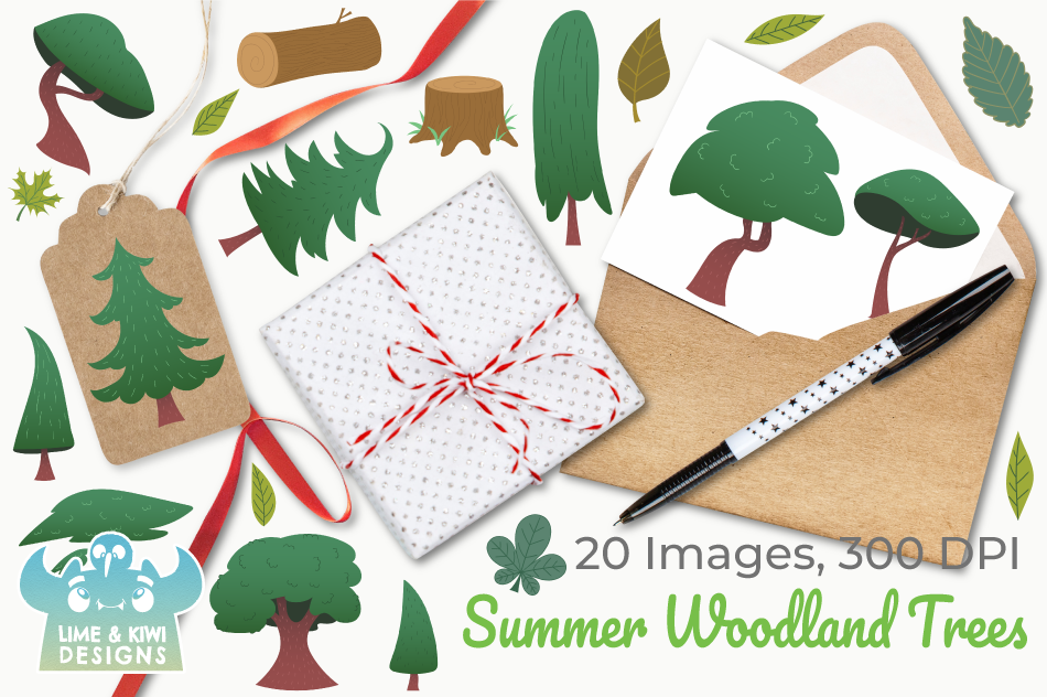 Summer Woodland Trees Clipart, Instant Download Vector Art example image 4