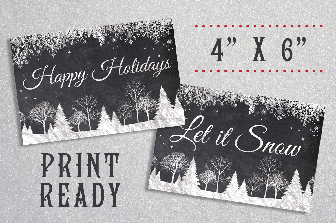 Chalk Christmas Card Bundle example image 4
