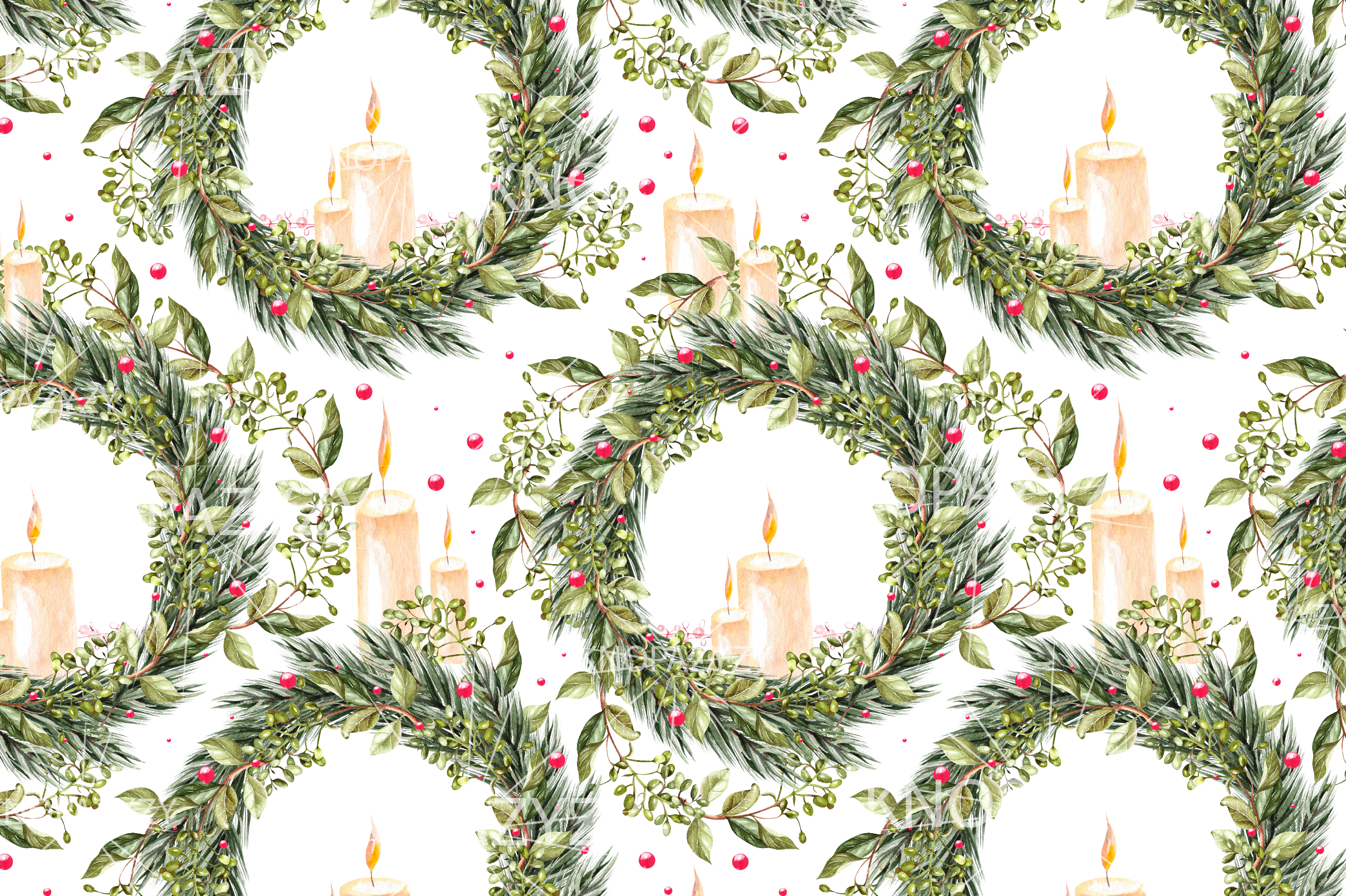 Hand Drawn Watercolor Christmas 13 Patterns example image 12