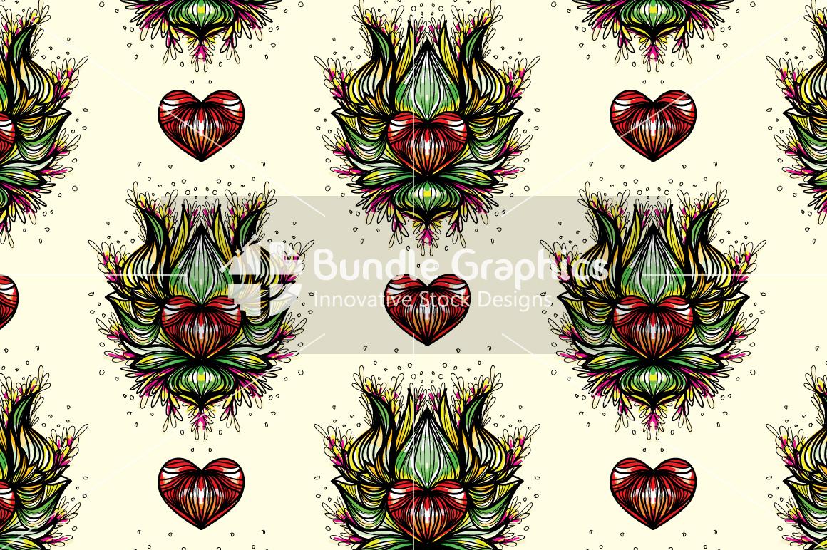 Lotus Heart - Freehand Symmetrical Design Background example image 2