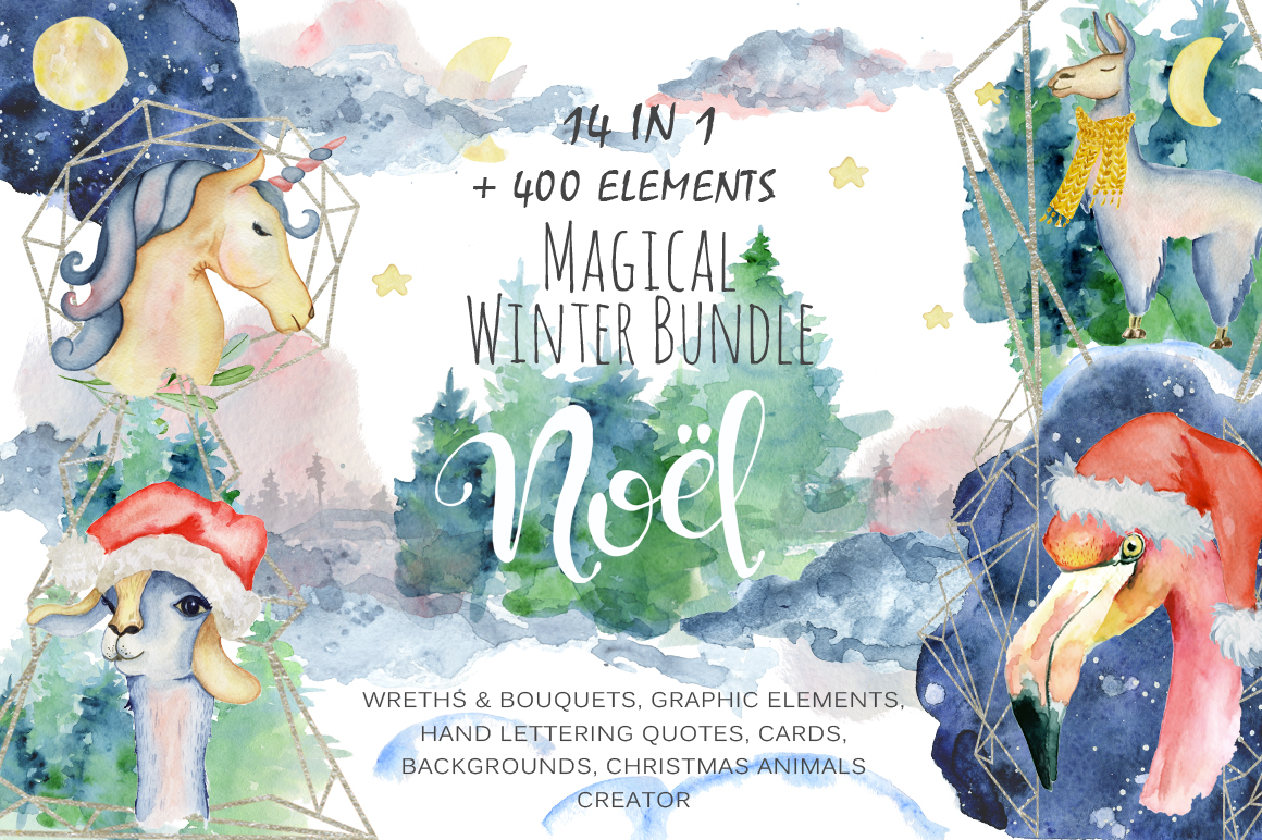 Magical Winter Bundle. Big Watercolor and lettering collection example image 1