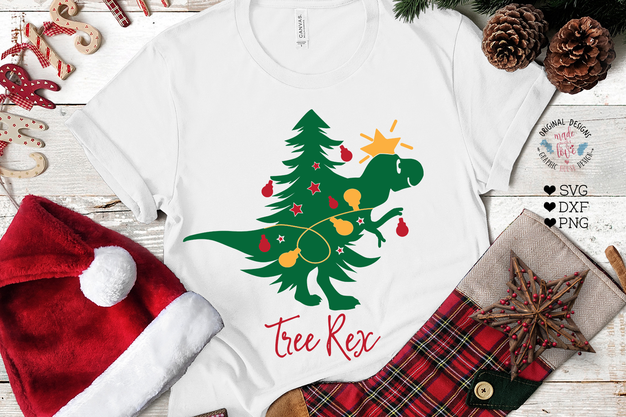 Tree Rex - Christmas Kids T-Shirt Cut File example image 1