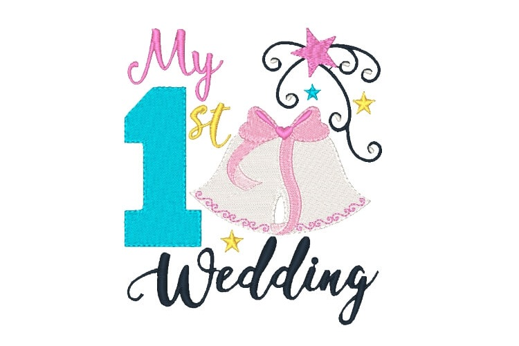 My First Wedding Embroidery Design Baby Embroidery example image 1