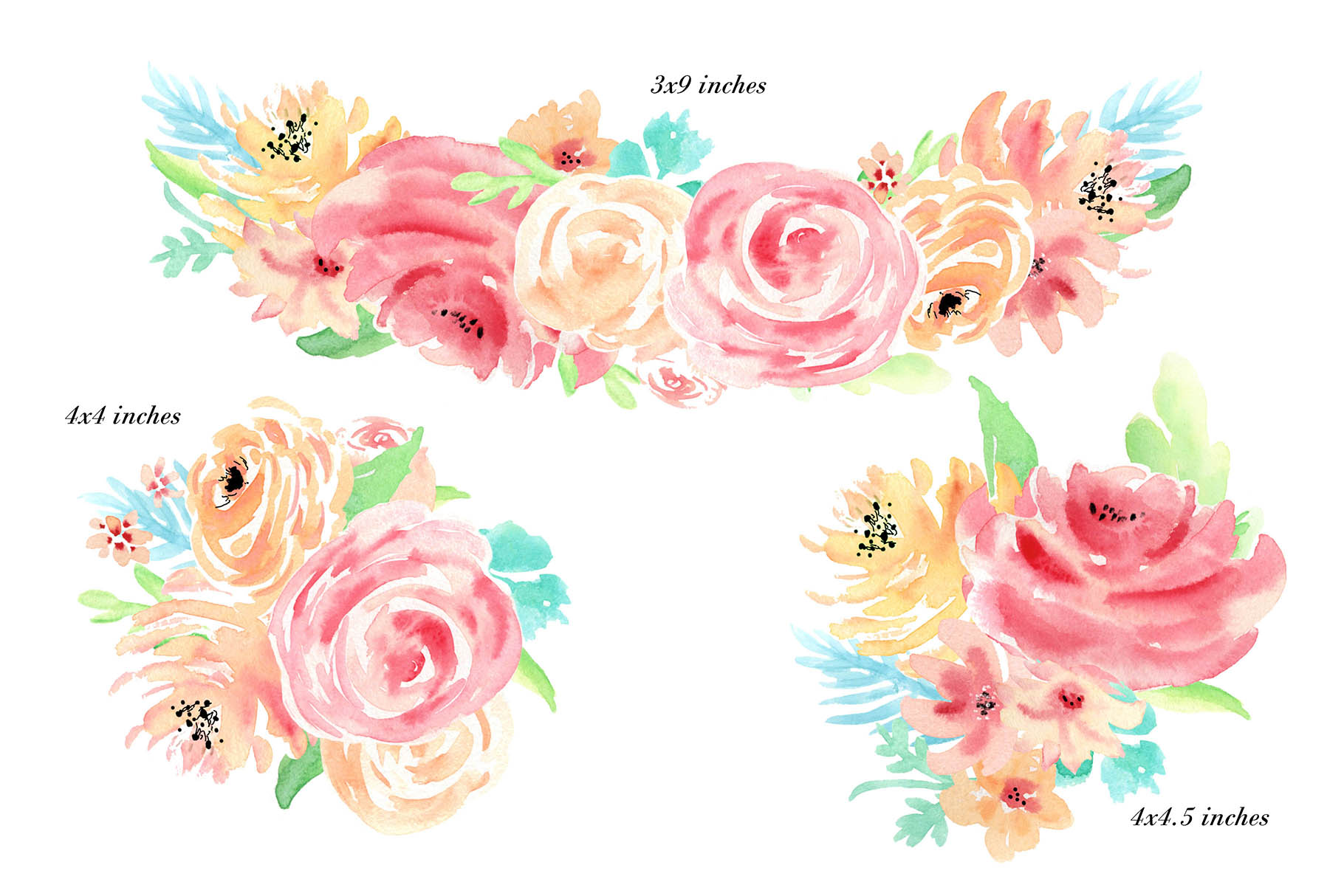 Watercolor flowers clip art. For wedding invitations, scrapbook, thank you card, logo creations. BOHO, Hand painted Watercolor floral example image 2