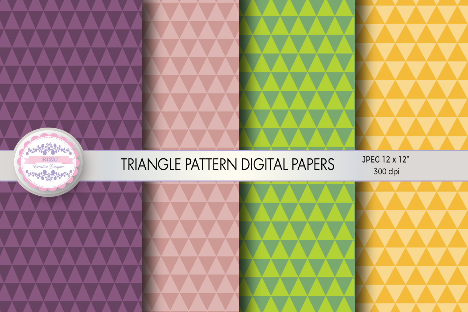 TRIANGLE PATTERN DIGITAL PAPERS example image 1